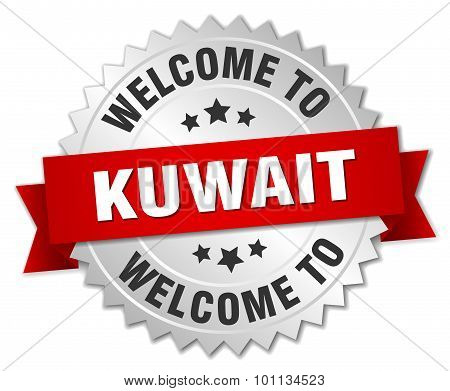 Kuwait 3D Silver Badge With Red Ribbon