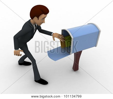 3D Man With Mailbox Concept