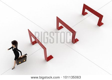 3D Woman Crossing Hurdles Concept