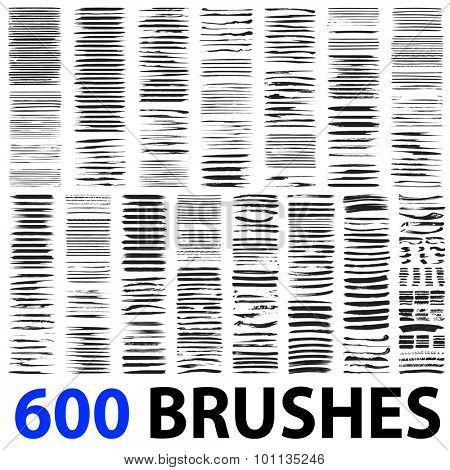 Very large collection or set of 600 artistic black paint hand made creative brush strokes isolated on white background