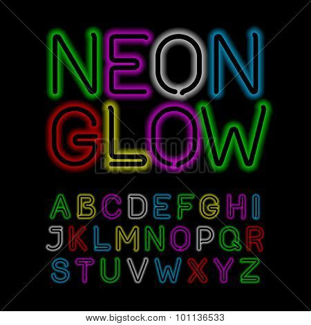 Neon glow alphabet. Vector.