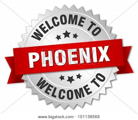 Phoenix 3D Silver Badge With Red Ribbon