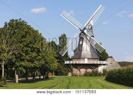 Historic windmill at Grefenmoor near Stade, Lower Saxony, Germany