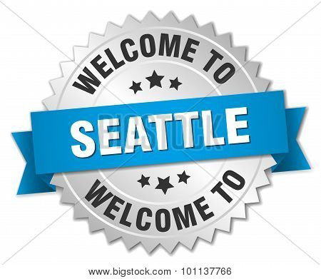Seattle 3D Silver Badge With Blue Ribbon