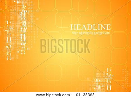 Yellow orange tech geometric background. Vector illustration template design