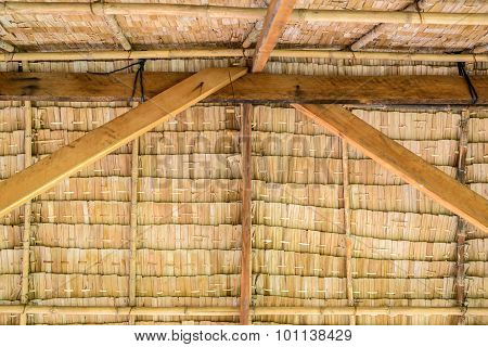 Inside of thatched roof Thai cottage, Thai traditional style.
