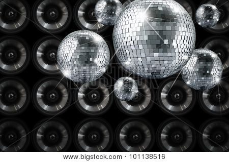 Party lights disco mirror ball with background