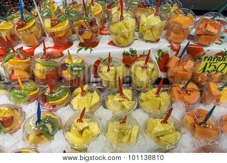Fruit Salad For Sale At Boqueria Market