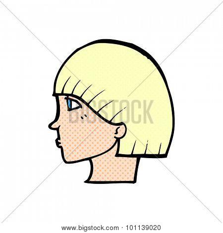 comic book style cartoon side profile face