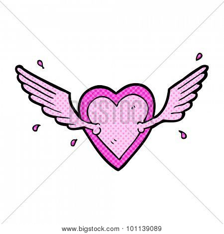 comic book style cartoon flying heart