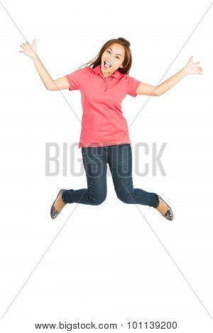 Extreme Happy Jumping Mid Air Asian Woman Spread