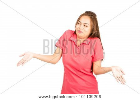 Laughing Asian Woman Shrugging Shoulders