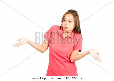 Not Sure Asian Woman Shoulders Shrugging Hands Up