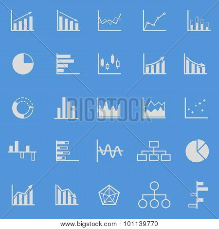 Graph Color Icons On Blue Background