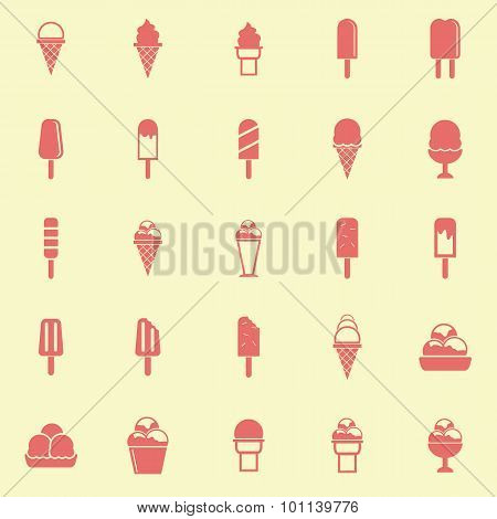 Ice Cream Color Icons On Yellow Background