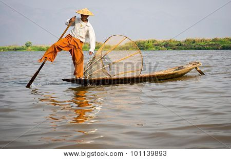 Fisherman In Inle Lake, Shan State, Myanmar (burma)
