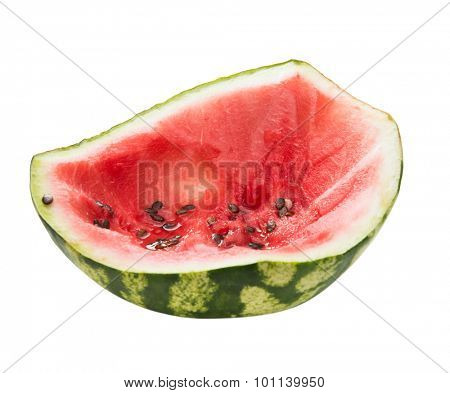 watermelon remains with seeds isolated on white background