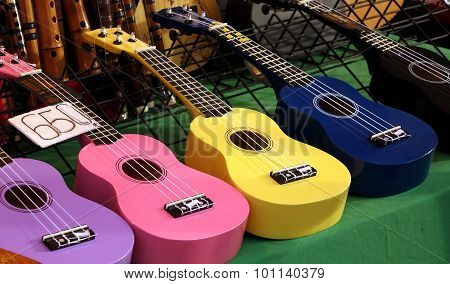 Cheap Ukulele Instruments For Sale At A Market