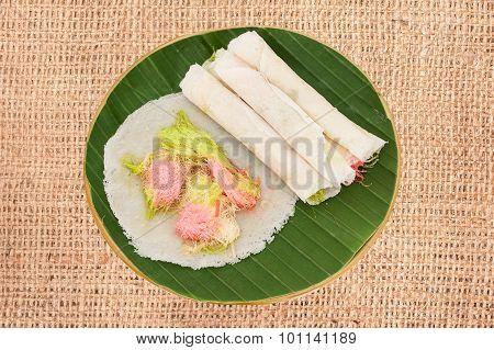 Thai Cotton Candy Burrito Pancake On Cloth