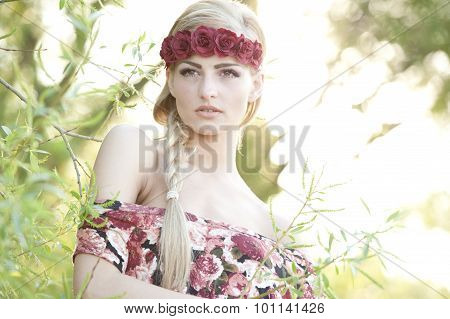 Blonde Wearing A Flower Crown