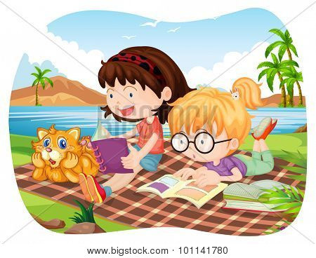 Girls reading books by the lake illustration