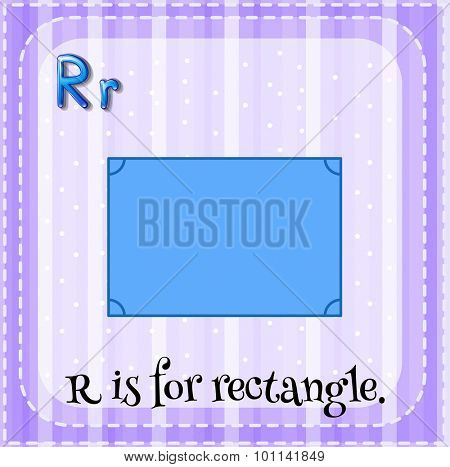 Flashcard alphabet R is for rectangle illustration