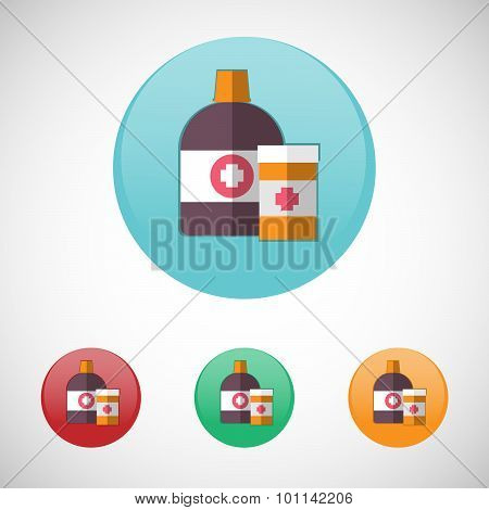 Mixture Solution Bottles Vector Icon Set.