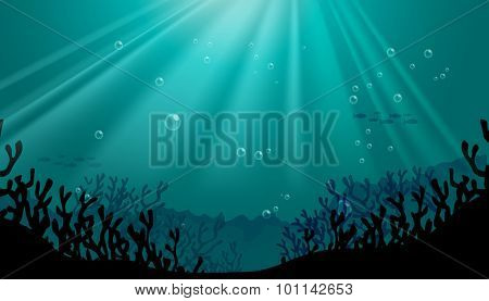 Silhouette underwater scene with coral reef illustration