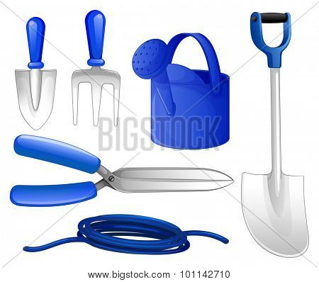 Gardening tools and hose illustration