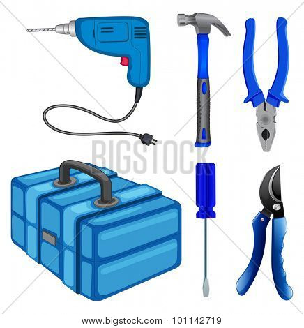 Construction tools and box illustration