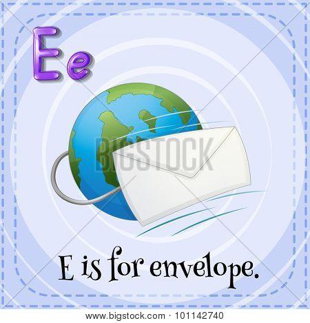 Flashcard letter E is for envelope illustration