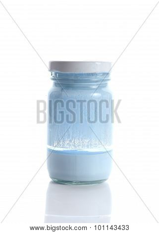 Bottle Glass Of Blue Color On White Background