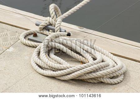 Yachting, White Rope And Mooring Bollard