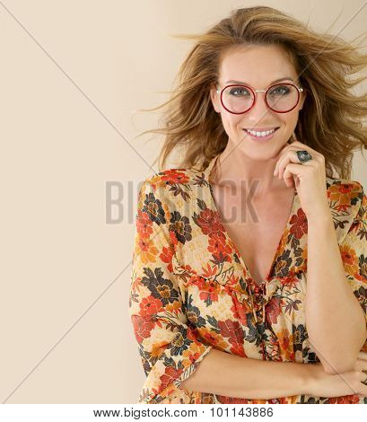 Portrait of attractive trendy woman with eyeglasses, isolated