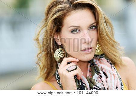 Portrait of beautiful smiling woman, fashion model