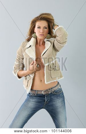 Beautiful fashion woman model, winter season