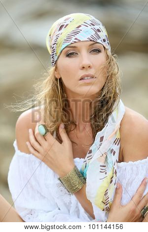 Portrait of attractive woman with gypsy style