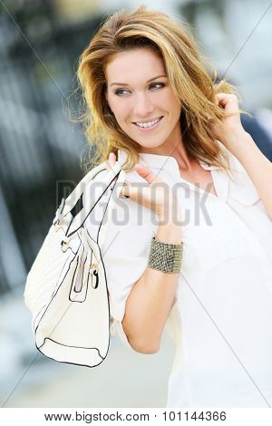 Active mature woman in town