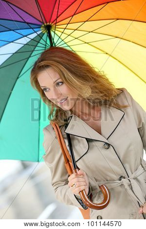 Woman on a rainy day walking with umbrella