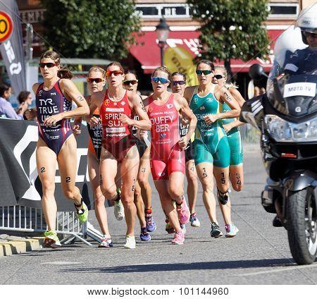 Triathlete Sarah True Running, Followed By Many Competitors