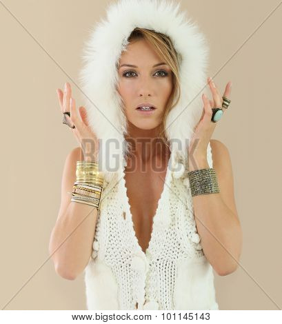Beautiful model woman with woolen jacket, isolated