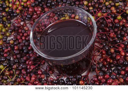 Bunch Of Fresh Elderberry With Juice, Healthy Nutrition