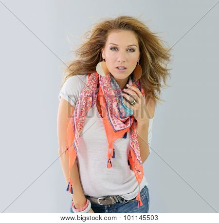 Beautiful fashion woman model, spring season