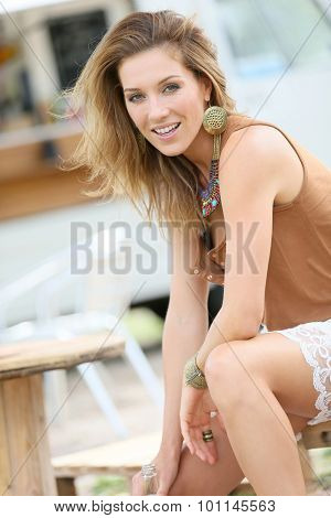 Attractive blond woman with gypsie style