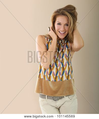 Attractive woman with long hair and trendy clothes