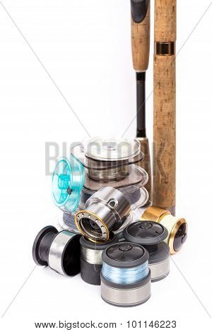 Fishing Rods, Spools With Line For Reels