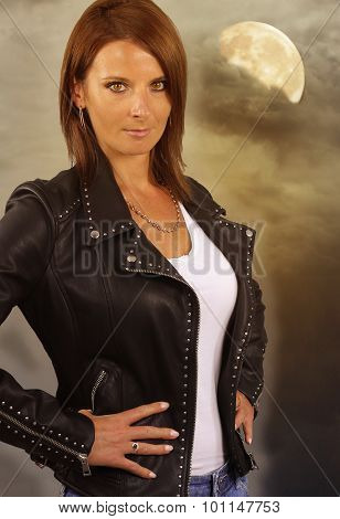 young werewolf - beautiful woman wearing a leather jacket