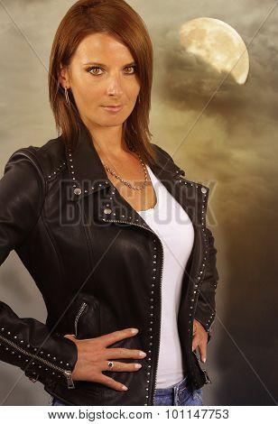 young werewolf - beautiful woman wearing a leather jacket