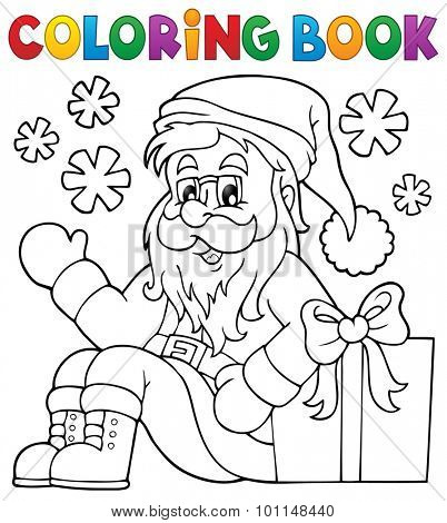 Coloring book with Santa Claus and gift - eps10 vector illustration.