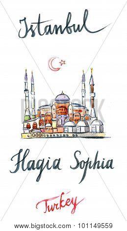 Watercolor Of Hagia Sophia